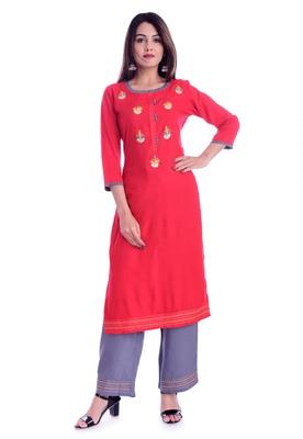 Red printed Rayon kurta-sets