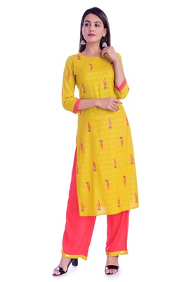Yellow printed Rayon kurta-sets