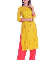 Yellow printed Rayon kurta-sets