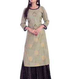 green printed Rayon kurta-sets