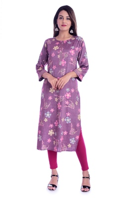 purple printed Rayon kurtas-and-kurtis