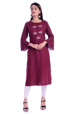 maroon printed Rayon kurtas-and-kurtis