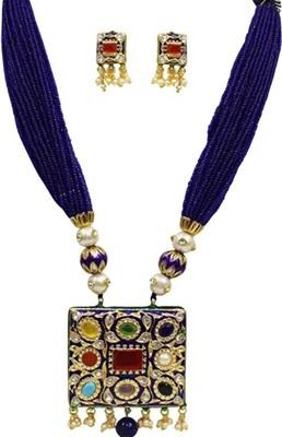 Blue Agate Navratna Necklace Sets