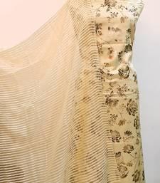 Suroh By Chandni Foil Print Lemon Unstitched Suit Fabric