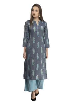 Women grey Straight Front Slit A line kurti with palazzo