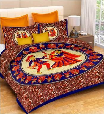 Multicolor Cotton Double Bedsheets