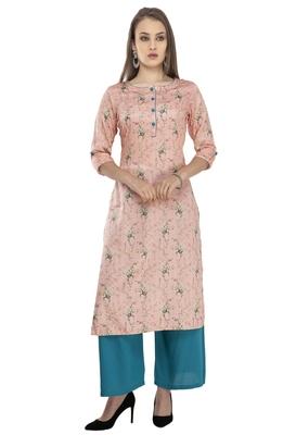 Women pink printed viscose kurti