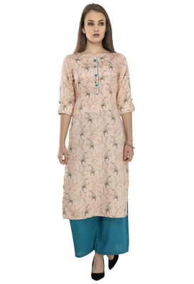 Women orange Printed viscose kurti