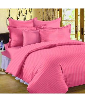 Luxurious 210 TC Striped Cotton Bedsheet with 2 Pillow Covers