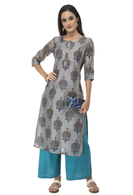 Women grey printed art silk kurti