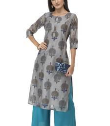 Women grey printed art silk kurti