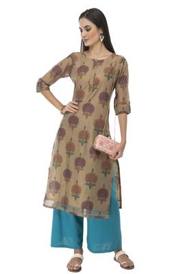 Women multicolor printed art silk kurti