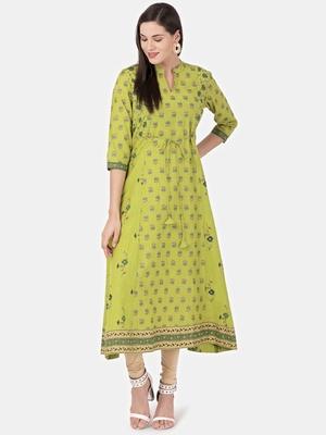 Light-green printed cotton kurtas-and-kurtis
