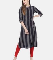 Dark-blue woven cotton kurtas-and-kurtis