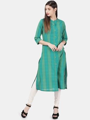 Teal woven cotton kurtas-and-kurtis