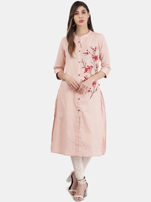 Peach embroidered cotton kurtas-and-kurtis