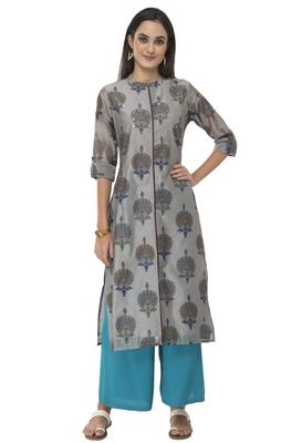 Women grey embroidered silk blend kurti