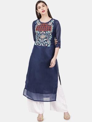 Dark-blue embroidered chanderi kurtas-and-kurtis
