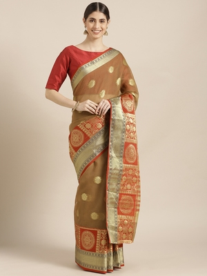 Brown woven blended cotton saree with blouse