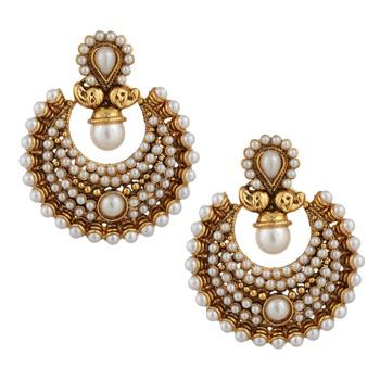 Rich polki and pearl bridal festival India ethnic ADIVA earring ab57