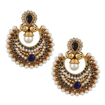 Blue polki and pearl bridal festival India ethnic ADIVA earring ab57b