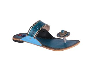 Women Leather Blue open thong kolhapuri