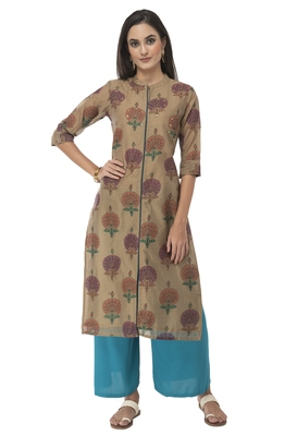 Women multicolor Embroidered Silk Blend kurti