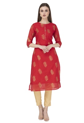 Women red printed chanderi kurti