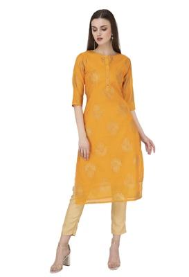 Women yellow printed chanderi kurti