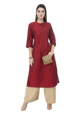 Women maroon embroidered art Silk kurti