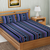Blue Color Cotton Double Striped Bedsheet