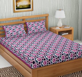 Pink Color Cotton Double Floral Print Bedsheet