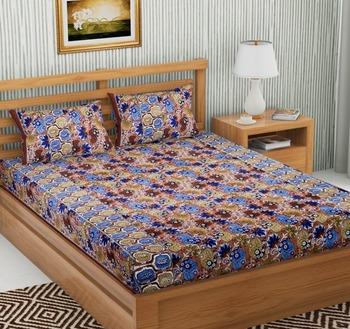 Brown Color Cotton Double Floral Print Bedsheet