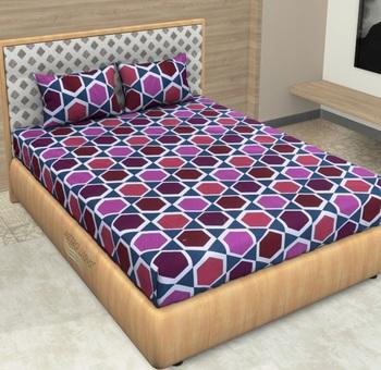 Purple Color Cotton Double Geometric Bedsheet