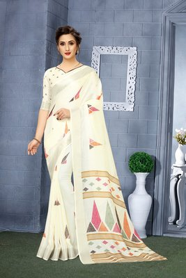 Off white printed linen saree with blouse