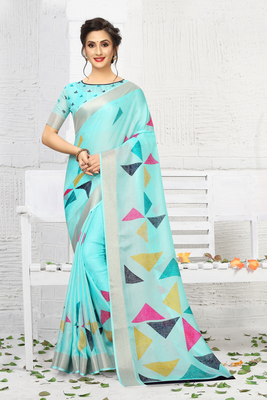 Light blue printed linen saree with blouse