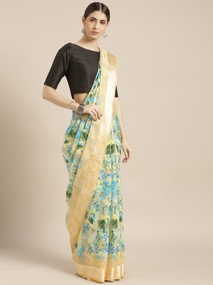 Blue printed silk cotton saree with blouse