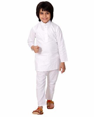 White plain cotton boys-kurta-pyjama