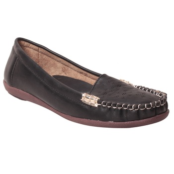 women Synthetic Black loafers