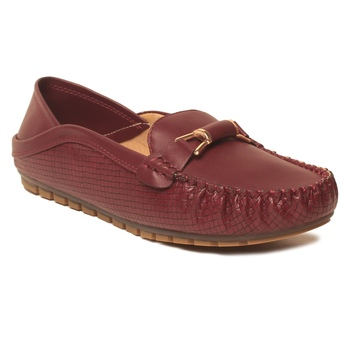 women Synthetic Maroon Loafers