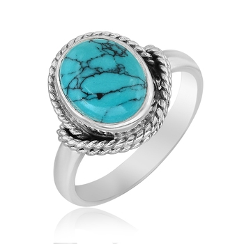 Blue Turquoise 925 Sterling Silver Rings