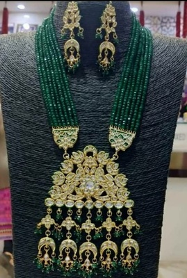 Green Wedding Long Kundan Necklace Sets