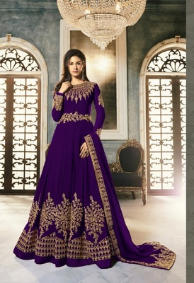 Dark-purple embroidered santoon salwar