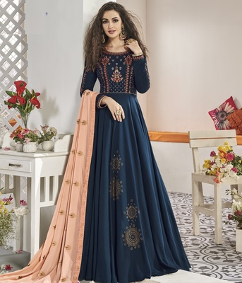 Blue embroidered silk salwar
