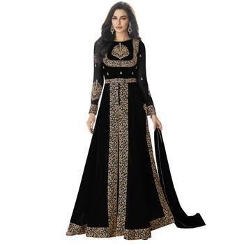 Black Georgette Embroidered Salwar With Dupatta