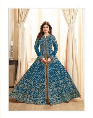 Aqua-blue stone cotton knitted salwar