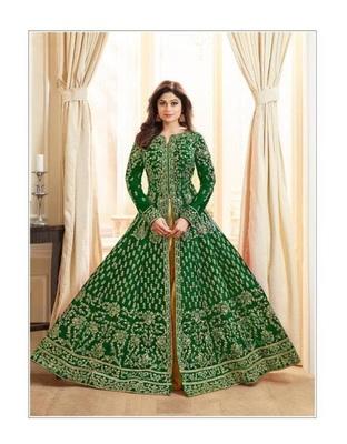 Dark-green stone cotton knitted salwar