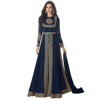 Navyblue Embroidered Georgette Salwar With Dupatta