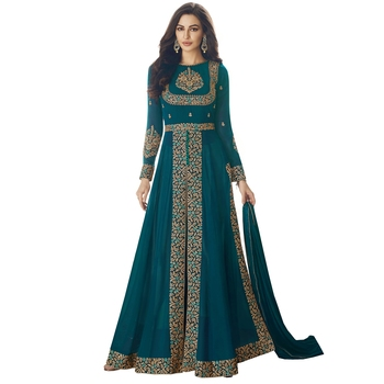 Turquoise Embroidered Salwar With Dupatta