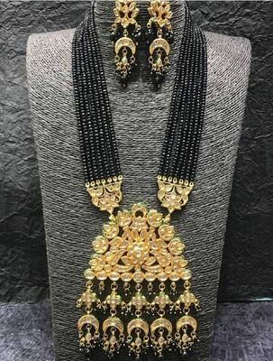 Black Wedding Long  Kundan Necklace Sets